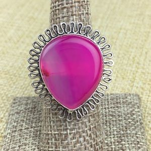 Pink Agate Stone Ring Size 7.25